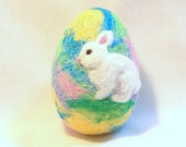 Needle Felted  Easter Egg - Sparkly Rainbow Egg with White Bunny