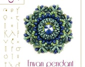 Beading tutorial / pattern Erwan pendant with crescent beads. Beading instruction in PDF – for personal use only