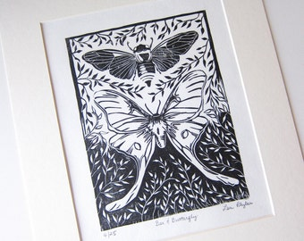 Bee & Butterfly Linocut Relief Print • Limited Edition • Printmaking Original