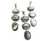 Abalone Pendant, Silver Pendant, Silver Plated Pendant, SKU 5081