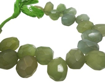 Green Chalcedony Briolettes, Chalcedony Briolettes, Olive Green, SKU 4134A