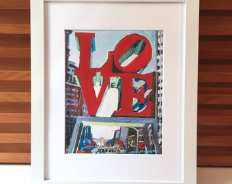 Philadelphia Love Painting, Framed in White, Cityscape Print from Painting, LOVE Park, red blue Urban Fine Art by Gwen Meyerson