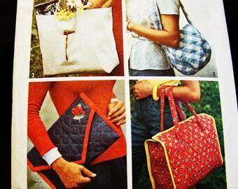1970s Purse Pattern, Tote Bag Pattern, Shoulder Bag Pattern, Clutch Purse Pattern, Vintage Pattern