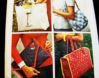 Vintage Purse Pattern 1970s Simplicity Pattern Tote Bag Pattern, Shoulder Bag Pattern, Clutch Purse Pattern
