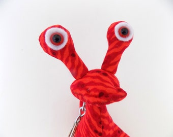 Alien Keychain, Cute Keychain, Monster Keychain, Stocking Stuffer, Red Keychain, Toys for Boys by Adopt an Alien named Orin