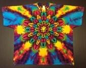 Tie Dye Shirt, Tiedye Shirt, Flower Tie Dye, Rainbow Tie Dye, Mandala Tie Dye, Lotus Blossom, Size 2XL, Mandala Tie Dye, Rainbow Tiedye