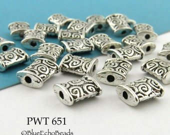 Small 8mm Pewter Rectangle Beads with Spirals, Swirls, Antique Silver Tone (PWT 651)  20 pcs BlueEchoBeads