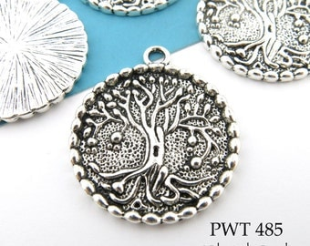 Large Tree of Life Charm Pewter 28mm Tree of Life Pendant (PWT 485) 4 pcs BlueEchoBeads