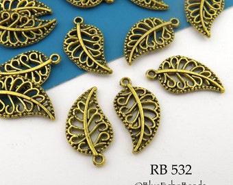 Small 18mm Filigree Openwork Brass Leaf Charm (RB 532) 20 pcs BlueEchoBeads