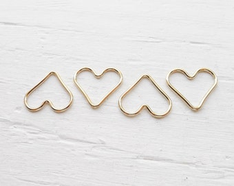 Gold Wire Heart Charm Gold Filled Open Heart Pendant