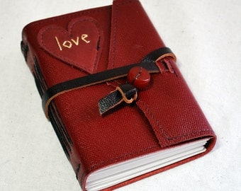 Small Love Heart Leather Journal with Recycled Paper