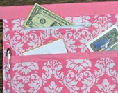 Pink Damask Teacher Apron, Vendor Craft Apron, Farmer's Market, Server Apron, Utility Apron, Garden apron with Zipper Pocket