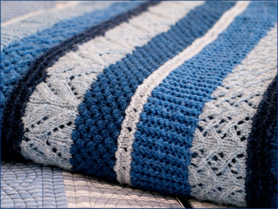 Ocean Currents Blanket - Knitting Pattern - Twin, Queen and King-size blanket...