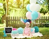 """Rosette Fake Cake Turquoise Frosting Approx. 6.75""""w x 4""""h Fab Photo Prop, First Birthday Decor, Shabby Chic Decor for your Kitchen"""