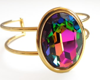 Rainbow crystal bracelet - crystal cuff bracelet - Swarovski crystal - crystal bracelet - gold cuff - oval crystal