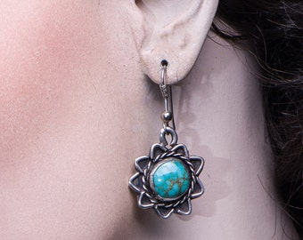 Navajo Star Earrings - 60s Natural Fox Turquoise Stones - Sterling Hooks