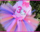 3yrs, Ready to Ship 3rd Birthday, Kitty with Number 3,  Party Outfiit, Birthday Tutu Set, Theme Party