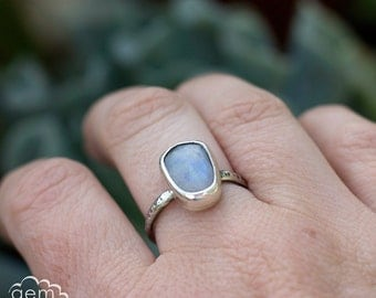 Sterling silver and Rose Cut Moonstone rustic ring - Carrack -