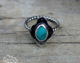 Sterling silver and Turquoise Rustic silver stacker ring  - Pointer series -