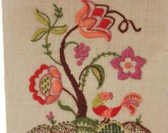 Vintage Unframed Flower Crewel, Flower Embroidery, Flower Wall Hanging, Vintage Needlework, Crewel Wall Hanging, Crewel Embroidery Picture
