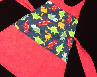 Children's Reversible Dinosaurs to pirates  apron fits 2-8 years