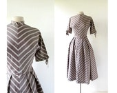 20% off sale Vintage 40s Dress / Girl Friday / Taupe Stripe Dress / 1940s Dress / XS