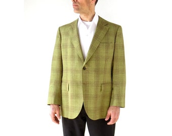 Vintage Plaid Jacket / Men's Suit Jacket / Avocado Green / 1960s Sport Coat / Size 42 R