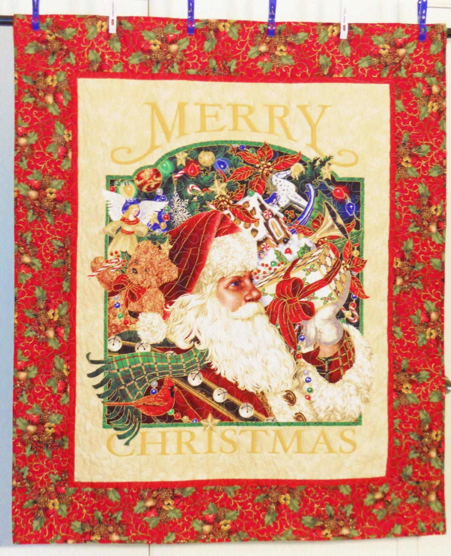 Merry Christmas Quilt Santa Claus Quilt Christmas Quilt