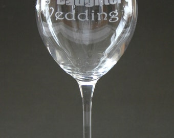 I Survived my Daughters Wedding Engraved Wine Glass