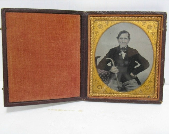 Antique Daguerreotype Photograph 1/6th Photo in Case, Stately Man with Cane & Top Hat