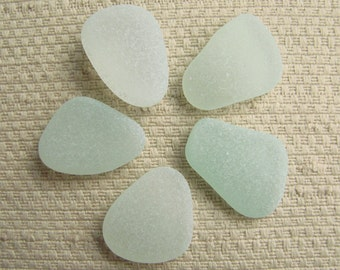 5 Large Seaglass Gems (SG1897) Pendant size, Ovals and Tear Drops, Pastel Seafoam Blue Green Mediterranean Sea glass, Beach Glass