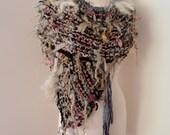 Scarf Collar  Hand Spun Hand Knit  Art Yarn