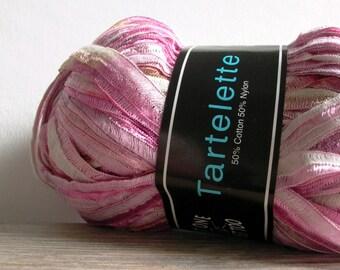 tartlette ribbon yarn . carnation . knit one crochet too iridescent shimmering ribbon . 75yds . pink blush cream gold shabby chic ribbon