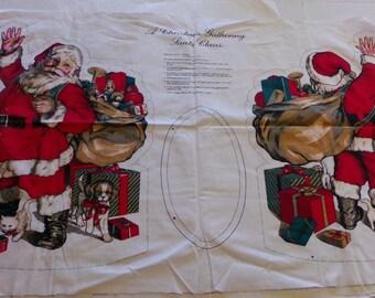 "Vintage Wamsutta Hallmark ""A Christmas Gathering Santa Claus"" Fabric Panel"