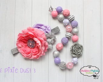 chunky necklace or baby headband set { Pixie Dust } Lavender silver pink Princess first Birthday, spring wedding cake smash photography prop