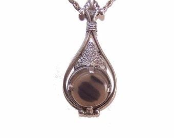 VINTAGE European 830 Silver & Agate Pendant