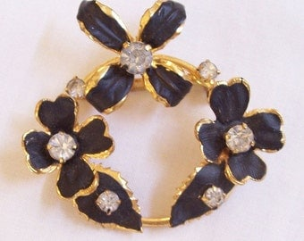 Vintage Black Enamel and Clear Rhinestones Floral Wreath Pin or Brooch