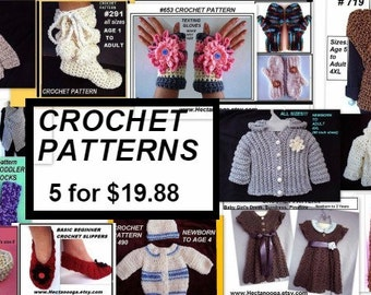 Patterns - Crochet  - handmade, hats, scarf, shrug, slippers, baby, teen, children, clothing, accessories, 1 free