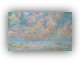 Large Abstract Winter Landscape- Blue Pink and Yellow Snow Sky and Clouds Oil Painting- Original 30 x 48 Palette Knife Art on Canvas