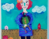 Folk Art Chicken Lady Painting on Wood
