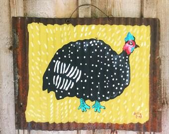 Folk Art Guinea Fowl Painting on Rusty Tin