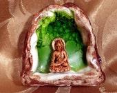 Buddha in a Cave. Porcelain Statue. Ceramic Art Miniature. Crackle Green Glass