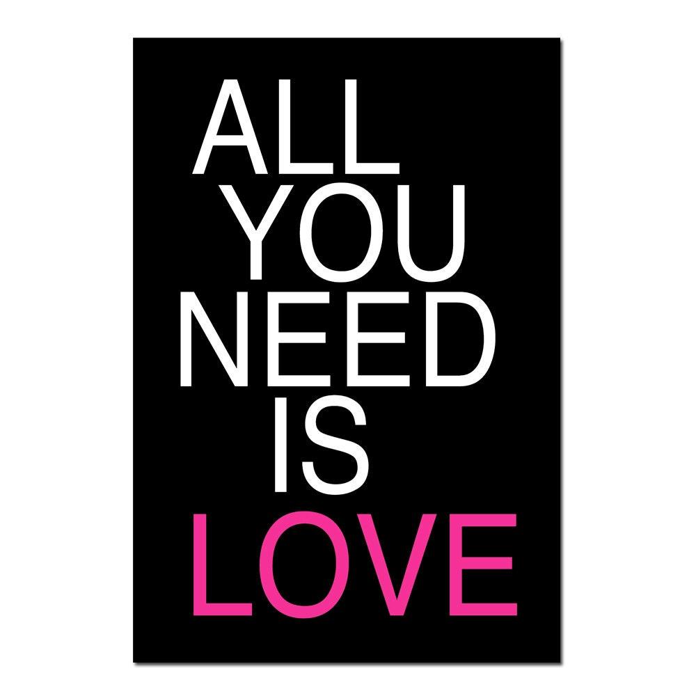 Wall Decor All You Need Is Love : Dorm decor teen wall art all you need is love quote print