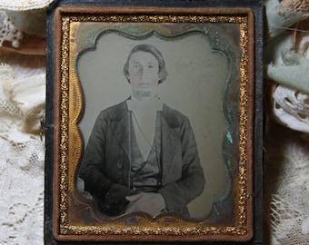 TINTYPE Portrait of Dapper Gent- Antique Photo in Wooden Frame- Gold Trim