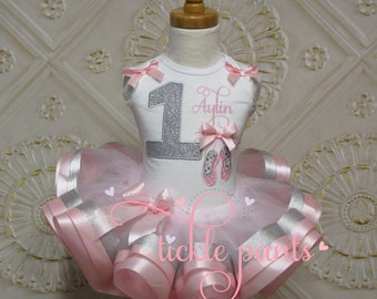 Ballerina Ballet Slippers Tutu Outfit - Baby girls 1st birthday - Includes top and ruffled tutu - Pink silver sparkle - Can be customized