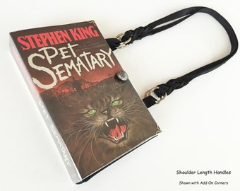 Pet Sematary Recycled Book Purse - Stephen King Book Clutch - Horror Book Cover Handbag - Gothic Bookish Accessory - Literary Gift