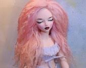 BJD Fur Wig Mohair size 7 Doll Tibetan Lamb MSD Fairyland  Minifee Bobobie 1/4  ooak Coral Cream