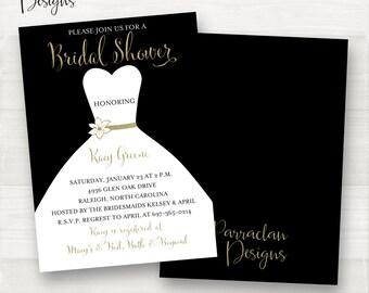 Pink Bridal Shower Invitation   Bridal Shower Invitation   Dress Bridal Shower Invitation   Black & Gold   Black   Gold   BS04