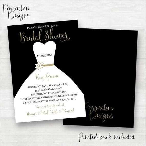 Pink Bridal Shower Invitation | Bridal Shower Invitation | Dress Bridal Shower Invitation | Black & Gold | Black | Gold | BS04