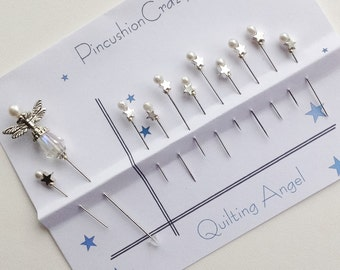 Quilter's Angel Stick Pin - Star Pins - Gift for Quilter - Sewing Accessory - Pincushion Pins - Girlfriend Gift - Guild Gift Exchange - Cute